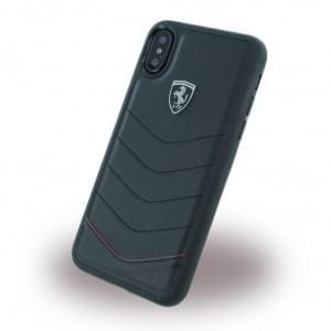 Ferrari Heritage Quilted Echtleder Hardcover für Apple iPhone X - Schwarz