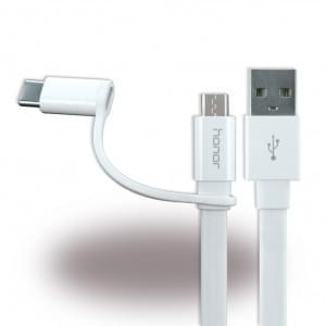 Original Huawei - 2in1 Ladekabel + Datenkabel - Micro USB und USB Typ C - Weiss
