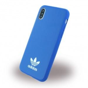 Adidas Moulded Kunstleder Hardcover für Apple iPhone X / Xs - Bluebird / Weiss