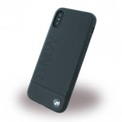 BMW Logo Imprint Echtleder Schutzhülle für iPhone XR Schwarz