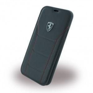 Ferrari Echtleder 488 Heritage Book Cover für Apple iPhone X - Schwarz