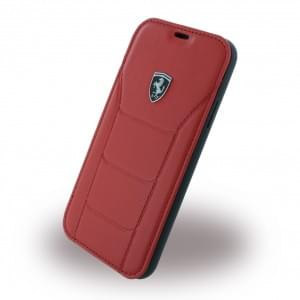 Ferrari Echtleder 488 Heritage Book Cover für Apple iPhone X - Rot