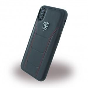 Ferrari 488 Heritage Echtleder Hardcover für Apple iPhone X - Schwarz