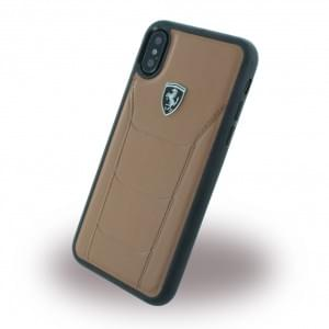 Ferrari 488 Heritage Echtleder Hardcover für Apple iPhone X - Kamel