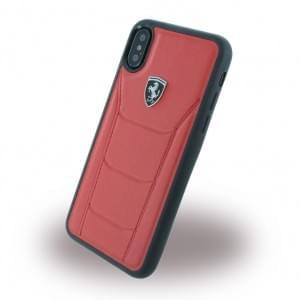 Ferrari 488 Heritage Echtleder Hardcover für Apple iPhone X - Rot