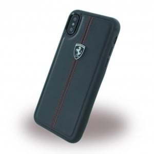 Ferrari Vertical Stripe Echtleder Hardcover für Apple iPhone X - Schwarz