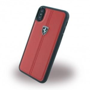 Ferrari Vertical Stripe Echtleder Hardcover für Apple iPhone X / Xs - Rot