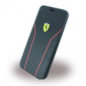 Ferrari Scuderia Carbon Book Cover für Apple iPhone X / Xs Schwarz