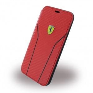 Ferrari Scuderia Carbon Book Cover für Apple iPhone X - Rot