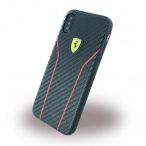 Ferrari Scuderia Carbon Hardcover für Apple iPhone X Schwarz