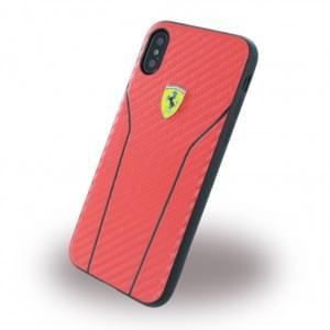 Ferrari Scuderia Carbon Hardcover für Apple iPhone X / Xs - Rot