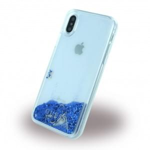 Guess Liquid Glitter Hardcover für Apple iPhone X - Blau