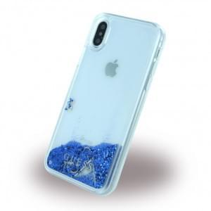 Guess Liquid Glitter Hardcover für Apple iPhone X / Xs - Blau