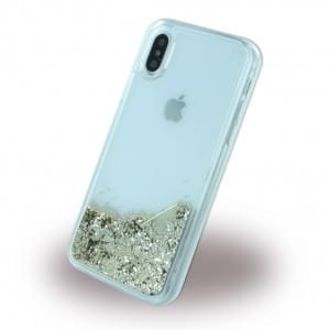 Guess Liquid Glitter Hardcover für Apple iPhone X - Gold