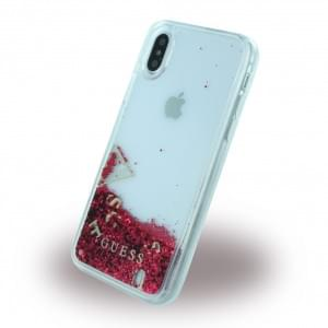 Guess Liquid Glitter Hardcover für Apple iPhone X - Himbeere