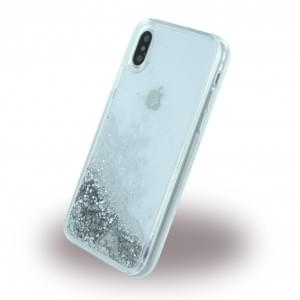 Guess Liquid Glitter Hardcover für Apple iPhone X - Silber