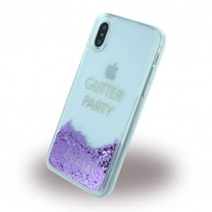 Guess Liquid Glitter Hardcover für Apple iPhone X - Lila
