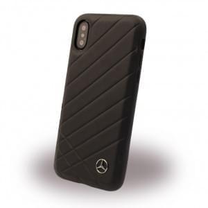 Mercedes-Benz Pattern II Echtleder Hard Case für iPhone X - Schwarz
