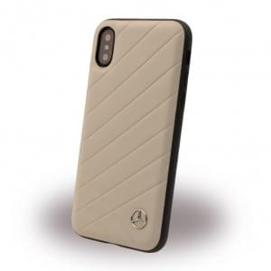 Mercedes-Benz - Pattern II Echtleder Hard Case für iPhone X - Crystal Grau