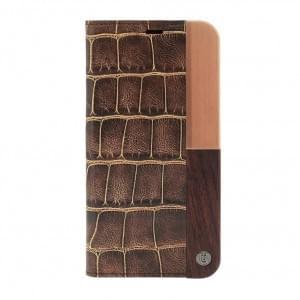 Uunique Luxe Croc Book Cover Apple iPhone X - Braun
