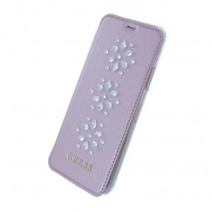 Guess - Studs and Sparkles - Book Cover für Apple iPhone X - Pink mit 2 Visitenkartenfächer