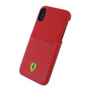 Ferrari - Urban SF Carbon - Hardcover für Apple iPhone X - Rot mit Visitenkartenfach