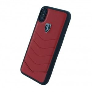 Ferrari Heritage Quilted Echtleder Hardcover für Apple iPhone X / Xs - Rot