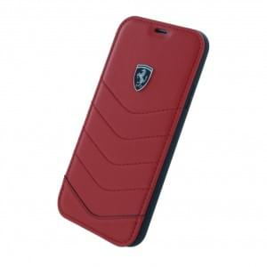 Ferrari Heritage Quilted Echtleder - Book Cover für Apple iPhone X / Xs - Rot