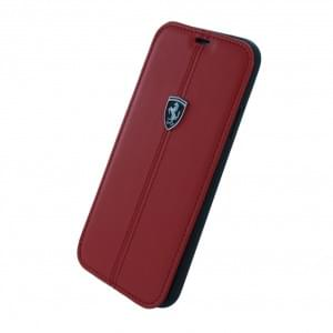 Ferrari Vertical Stripe Leder Book Cover für Apple iPhone X - Rot