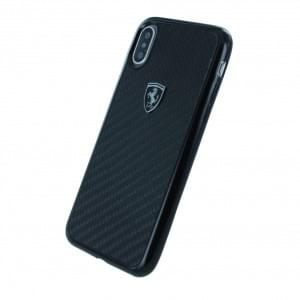 Ferrari Heritage Carbon Hardcover für Apple iPhone X - Schwarz