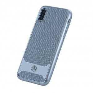 Mercedes Benz Carbon Aluminium Hardcover für Apple iPhone X - Silber