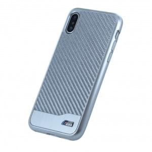 BMW M Carbon Aluminium Hardcover für Apple iPhone X - Silber