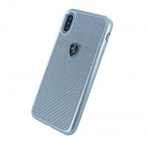 Ferrari - Heritage - Carbon Hardcover für Apple iPhone X / Xs - Silber