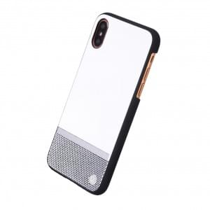 Uunique Perforation Hardcover für Apple iPhone X / Xs - Weiss / Silber