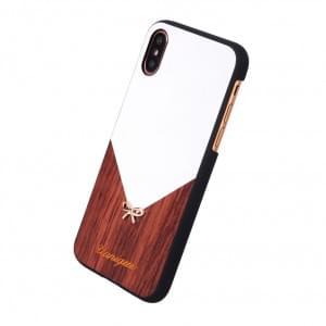 Uunique Rose Wood Hardcover für Apple iPhone X - Weiss / Braun