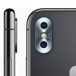 Kameralinsen Schutz Kappe für Apple iPhone X Aluminium Silber
