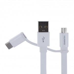 Original Huawei 2in1 Ladekabel + Datenkabel USB Typ A zu Micro USB und USB Typ C Weiss