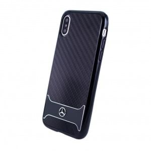Mercedes Benz Carbon Aluminium Hardcover für Apple iPhone X Schwarz