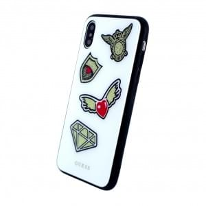 Guess Iconic Hardcover für Apple iPhone X Weiss