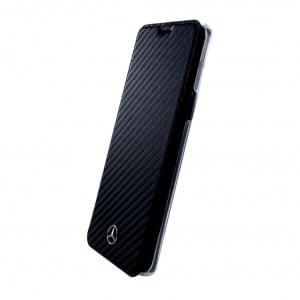 Mercedes Benz Dynamic Carbon Book Cover für Samsung Galaxy S9 Plus Schwarz