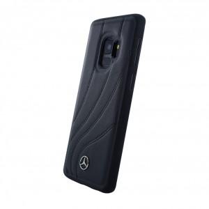 Mercedes Benz Organic II Echt Leder Hardcover für Samsung Galaxy S9 Schwarz