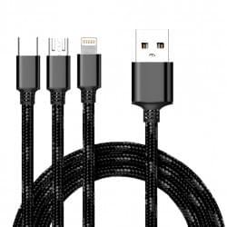 3in1 USB Ladekabel + Datenkabel Micro USB / USB Typ-C und Lightning Schwarz