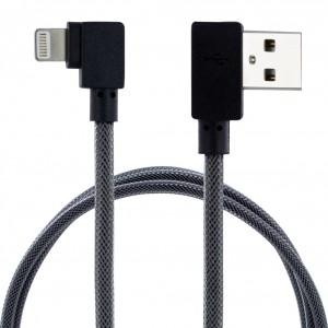 Abgewinkeltes USB Lightning Lade und Datenkabel Schwarz