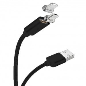 Magnet USB Lade / Datenkabel 2in1 Micro USB / Lightning auf USB 1m Schwarz