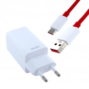 Original OnePlus DC0504 Dash Schnellladegerät D301 + Datenkabel USB Typ C Weiss / Rot
