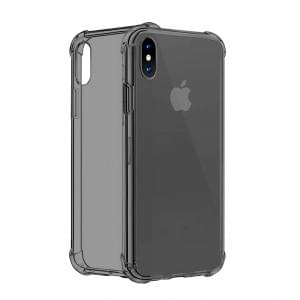 Four Coners Silikon Cover / Handyhülle für iPhone XS Max - Transparent / Schwarz