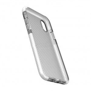 Dot Back Silikon Cover / Handyhülle für iPhone XR - Transparent / Weiss