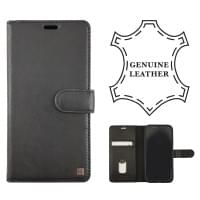 Uunique Protective Echtes Leder Folio Tasche Book Case iPhone XR - Schwarz