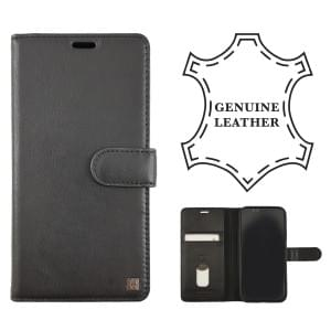 Uunique Protective Echtes Leder Folio Tasche Book Case iPhone XR - Schwarz