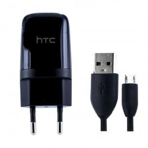 Original HTC TC-E250 USB Ladegerät + Ladekabel USB auf Micro USB Schwarz